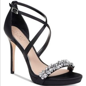 Badgley Mischka Black Jeweled Heels